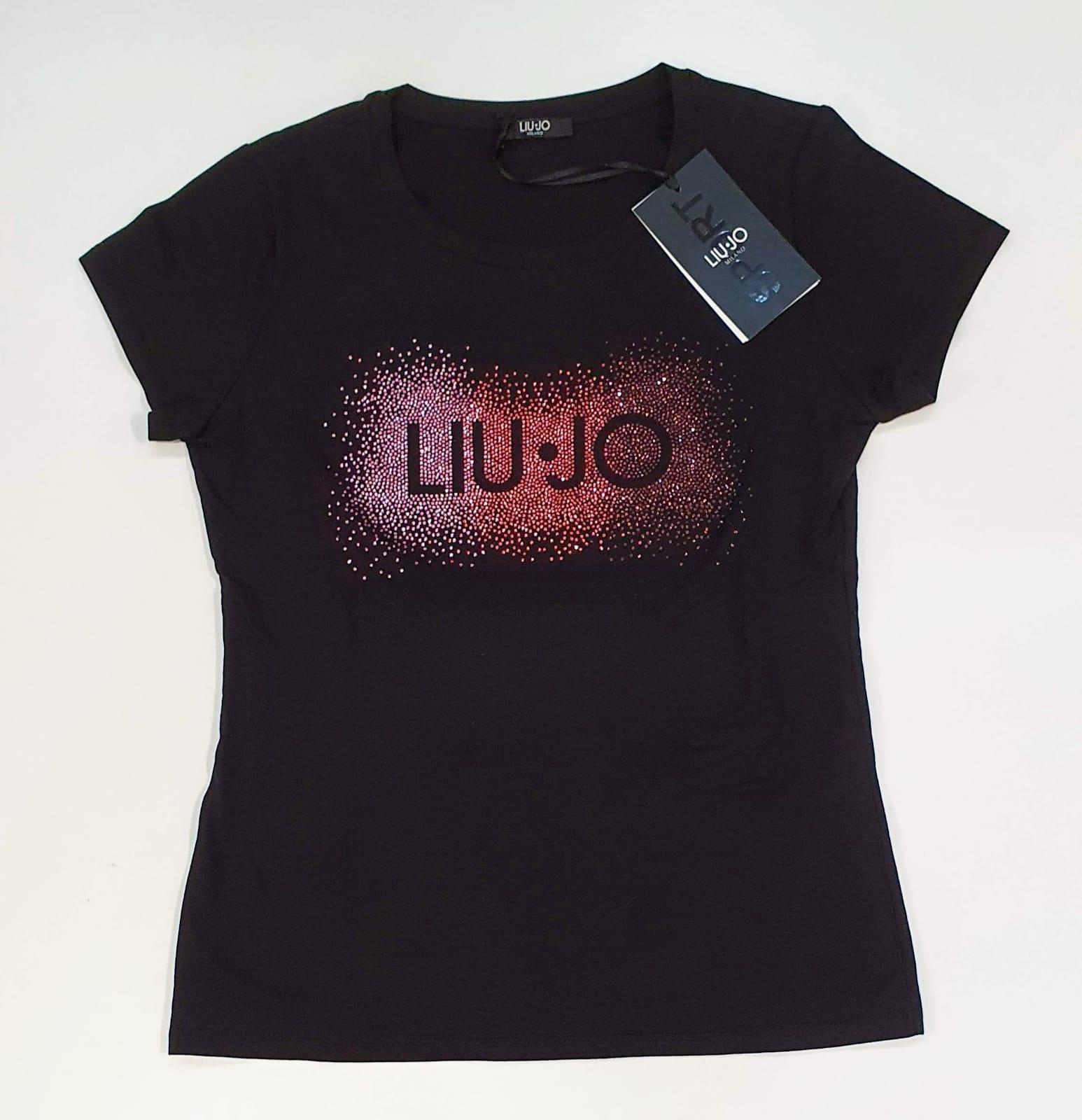 LIU JO T-shirt con logo Nero con Strass