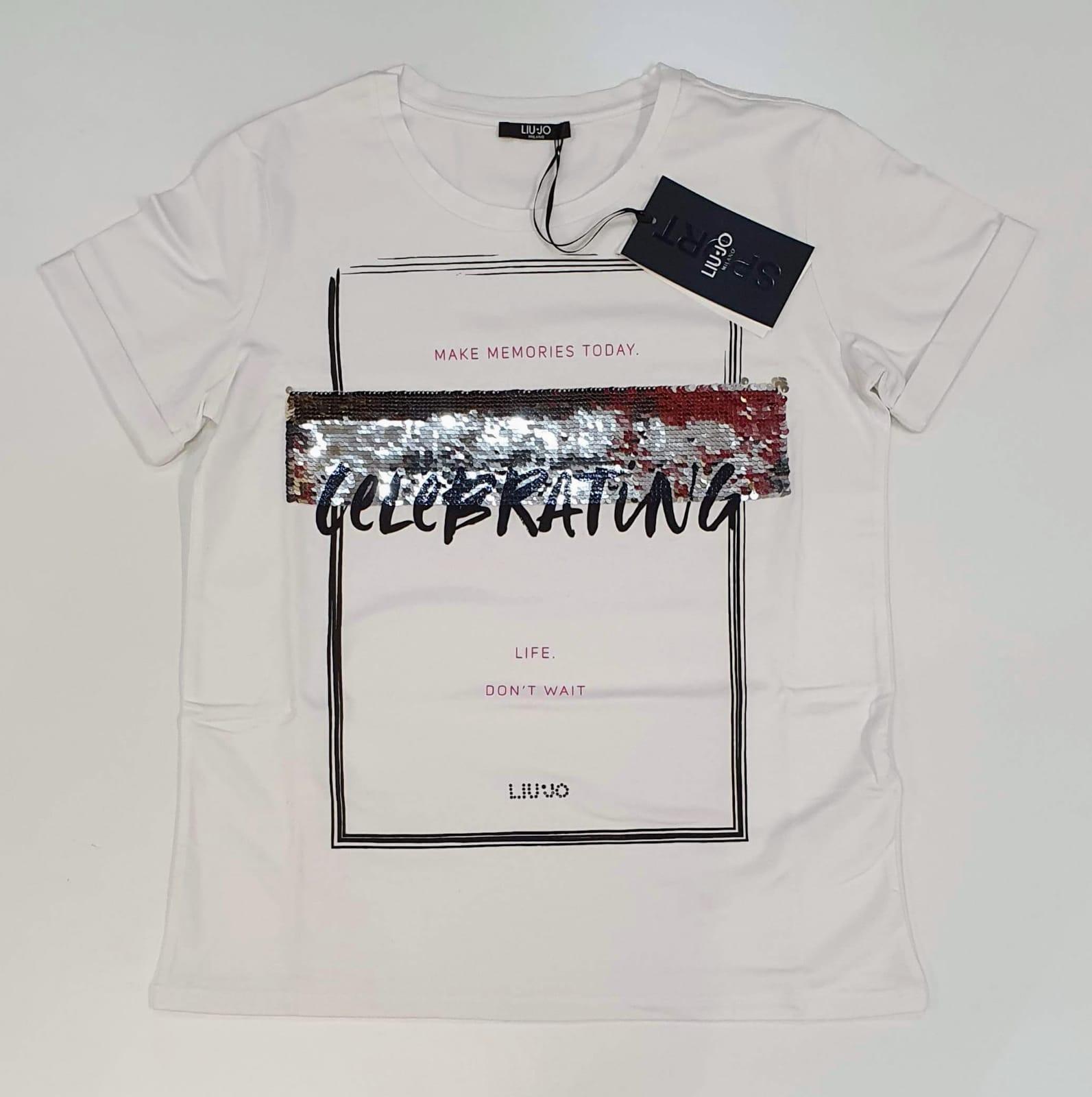 liu jo T-shirt con paillettes bianco