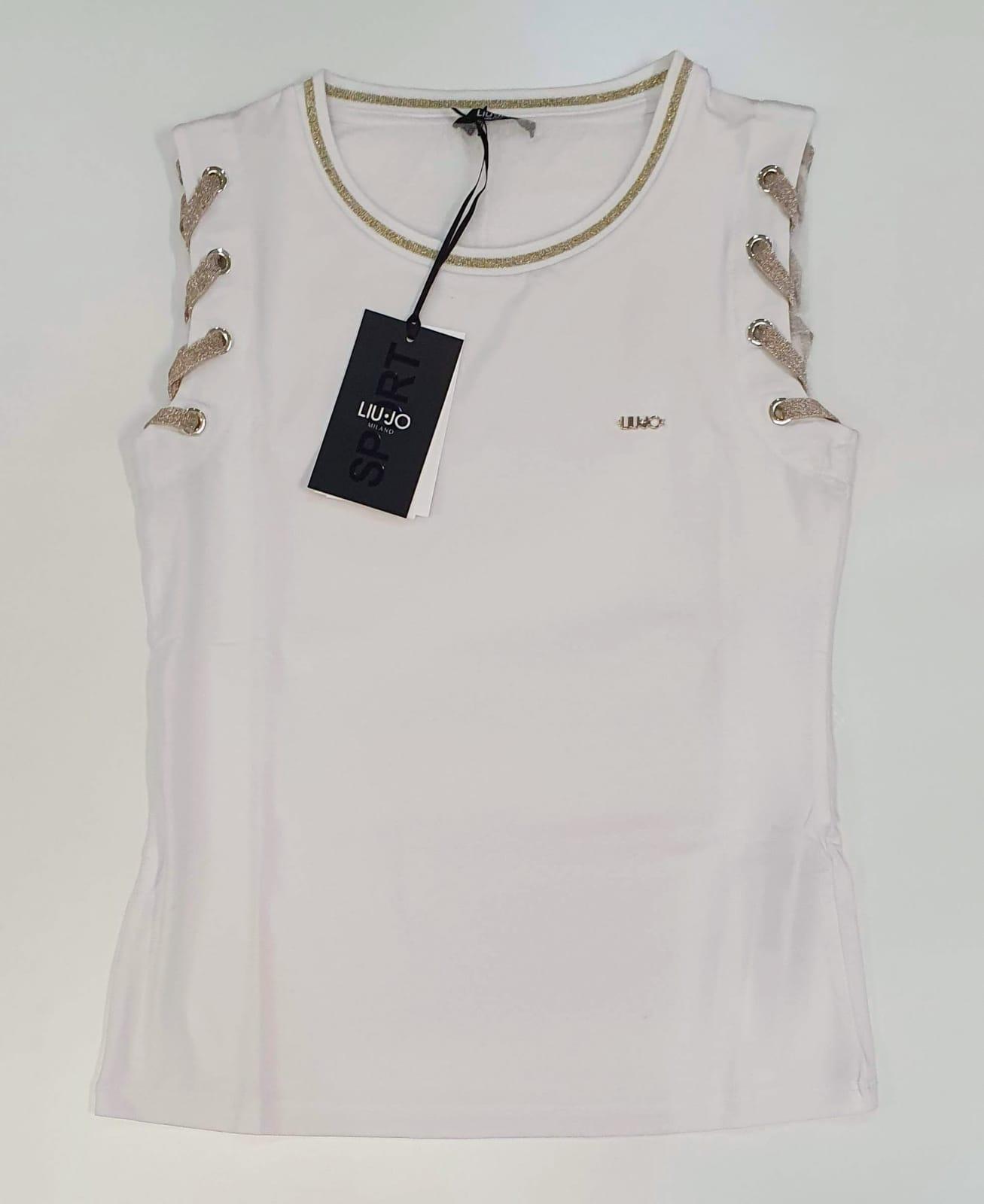 LIU JO T-SHIRT DONNA maniche decorate bianco