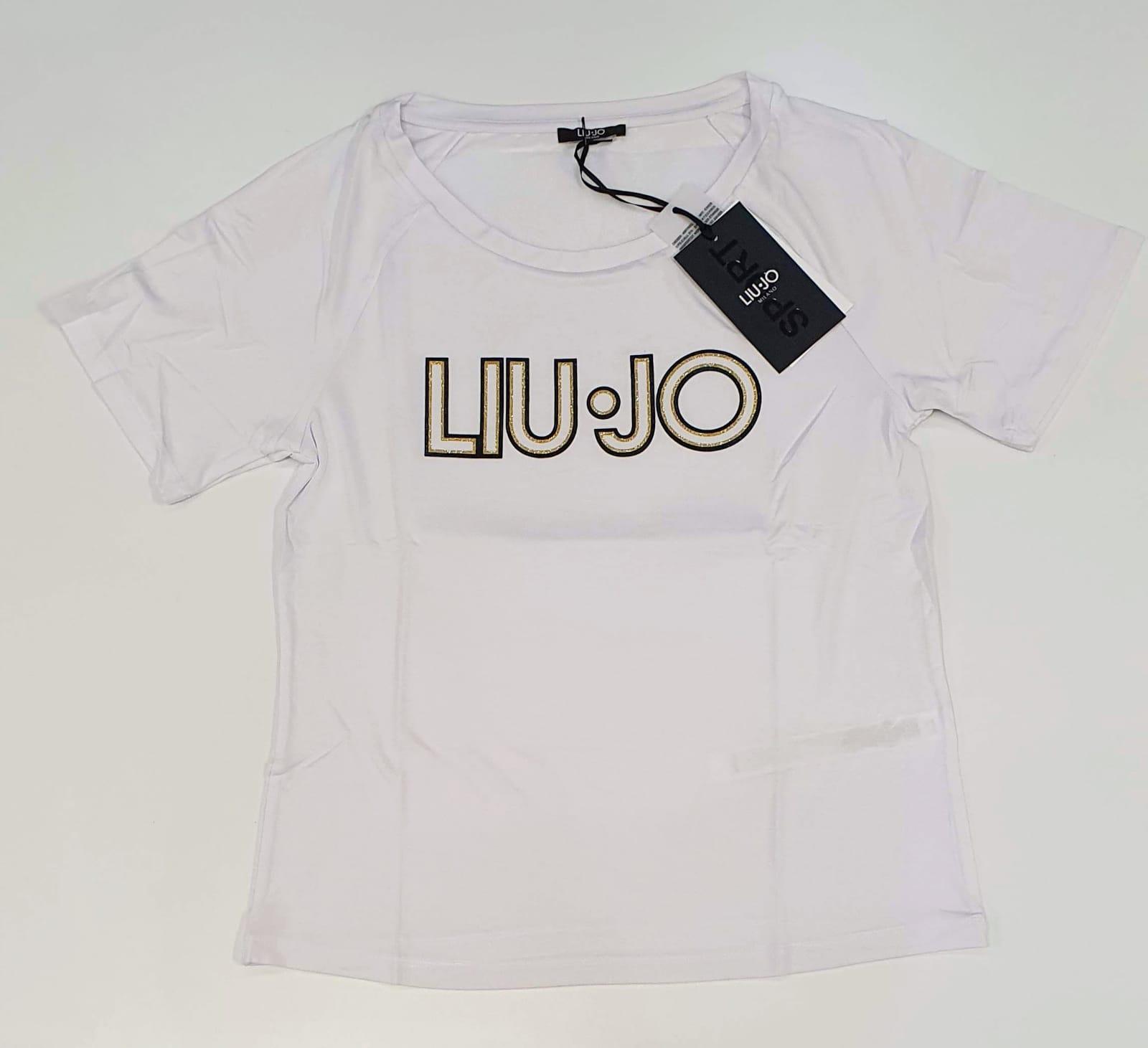 Liu Jo T-shirt in jersey con logo sul davan bianco