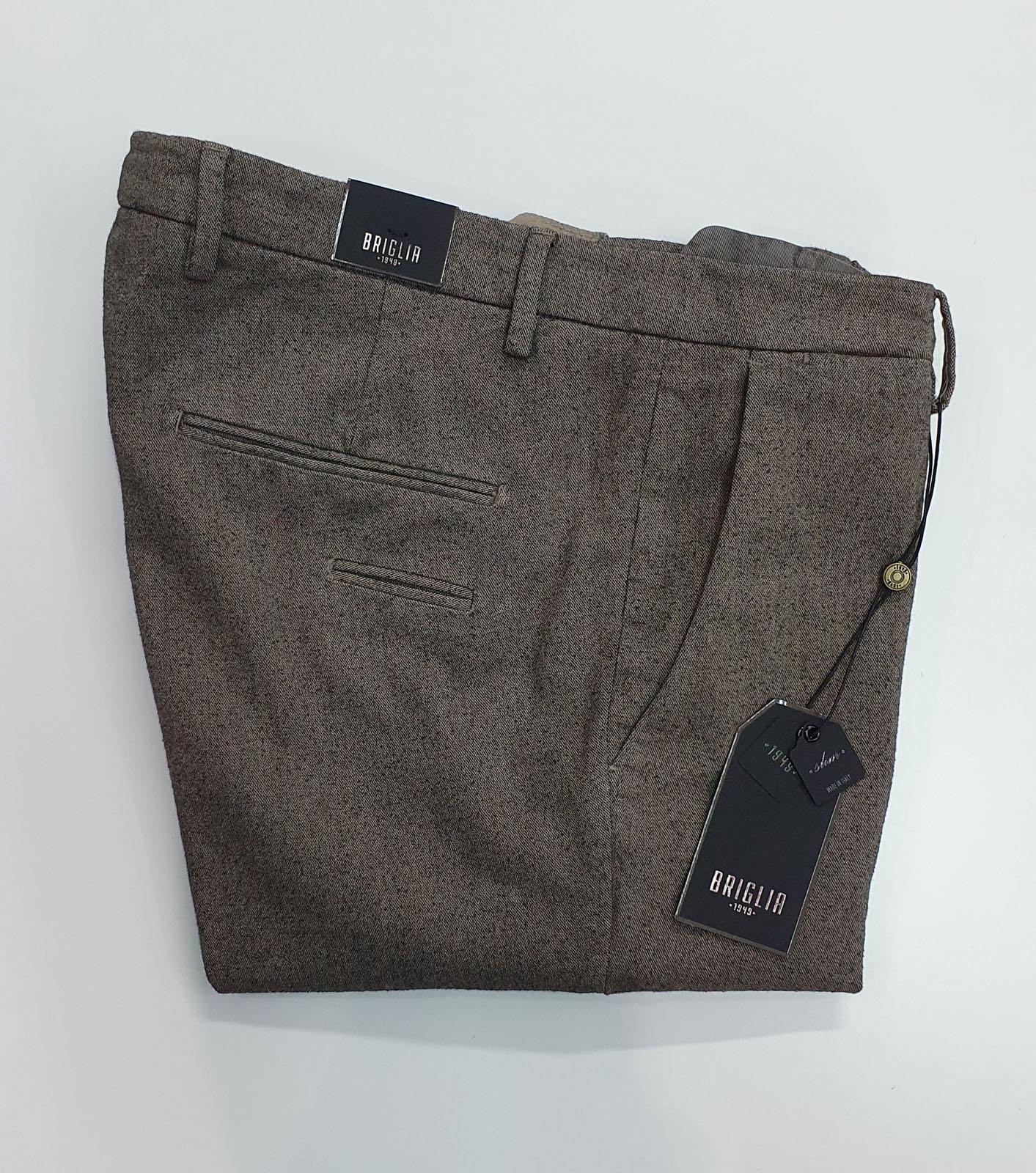 Pantalone Briglia in Flanella di Cotone Beige