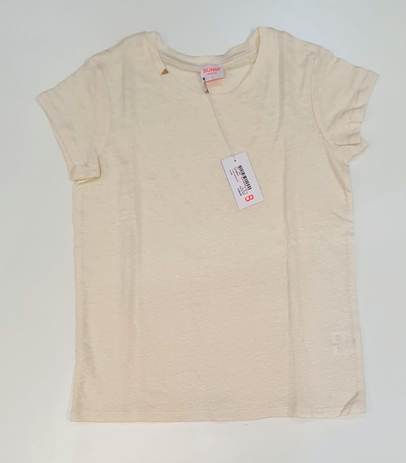 Sun 68 T-SHIRT Donna Girocollo lino bianco panna