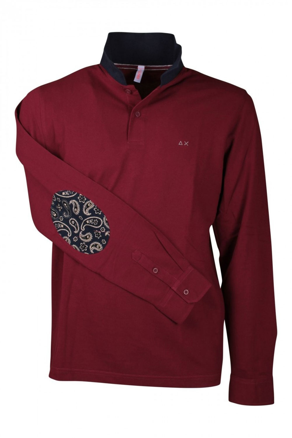 Sun68 Polo EL Velour Elbow L-S Bordeaux