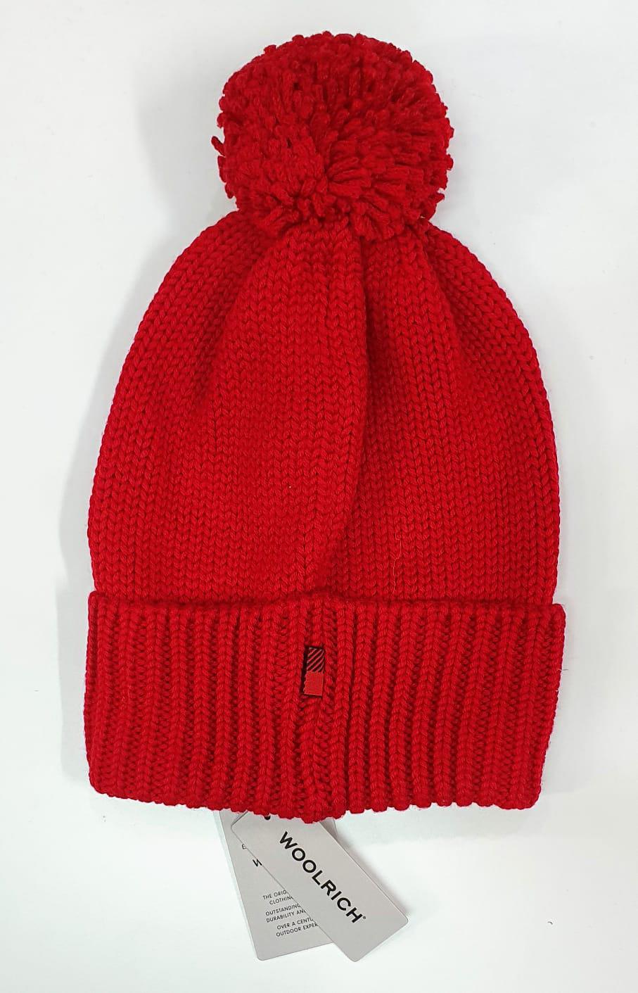 WOOLRICH Berretto in lana con pon pon rosso