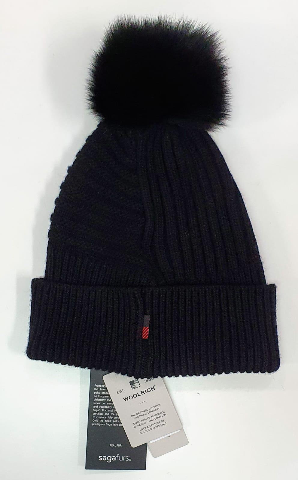 Woolrich Berretto in misto lana con pon pon rimovibile nero