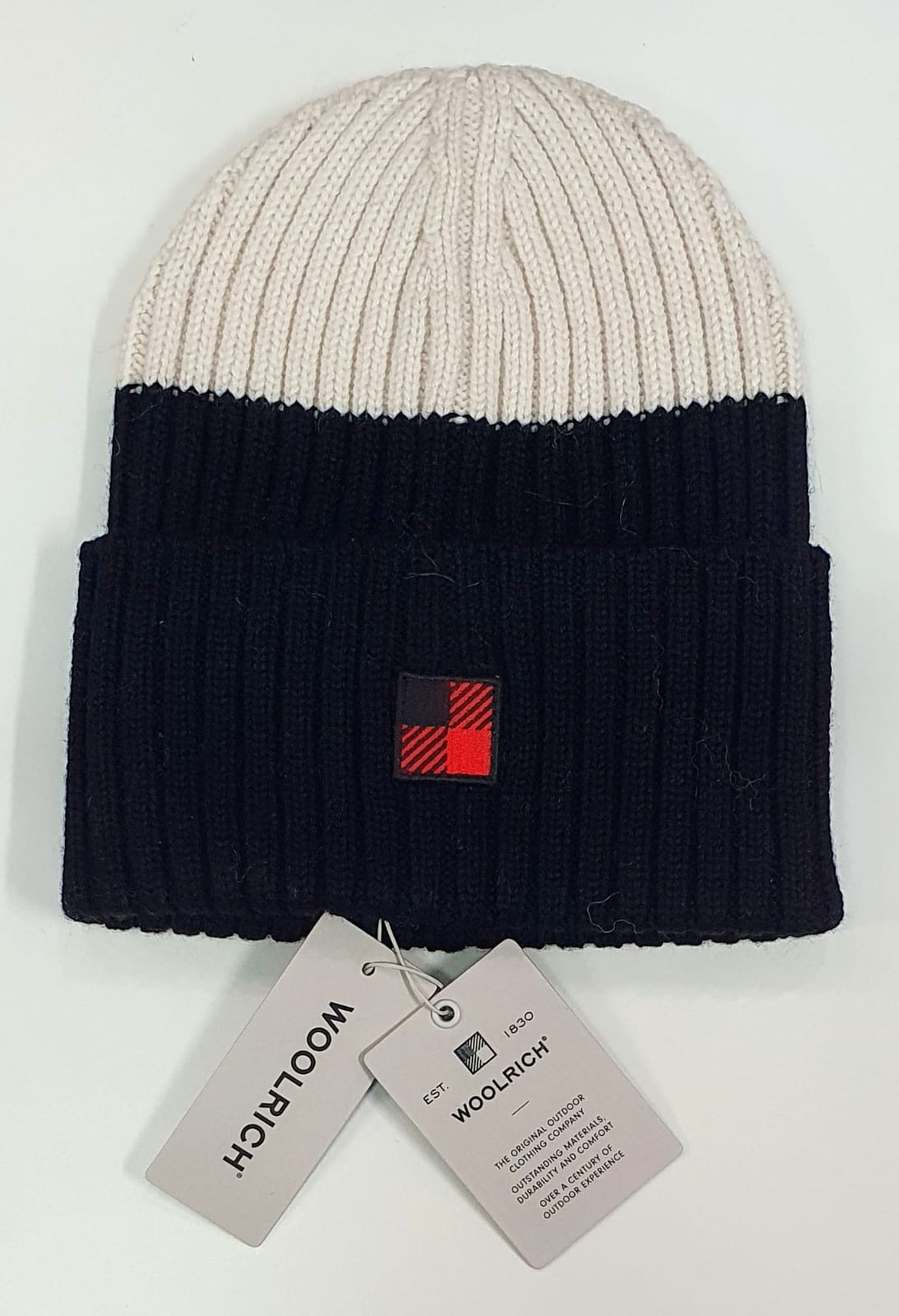 Woolrich cappello in lana nero bianco